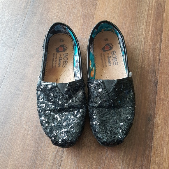 Skechers Shoes | Black Sequin Bobs By